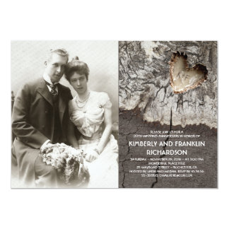 Tarjeta Aniversario de boda de madera rústico de la foto