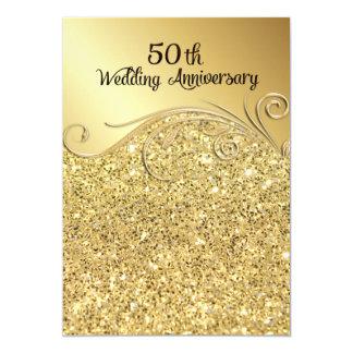 Tarjeta Aniversario de boda de oro de la chispa 50.o