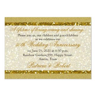 Tarjeta Aniversario de boda de oro del brillo 50.o del oro