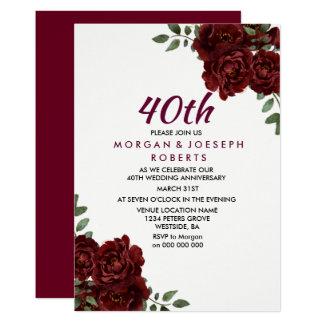 Tarjeta Aniversario de boda de rubíes del rosa rojo 40.o