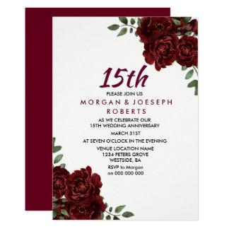 Tarjeta Aniversario de boda de rubíes del rosa rojo de