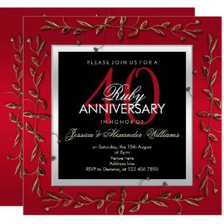 Tarjeta Aniversario de boda de rubíes elegante de las