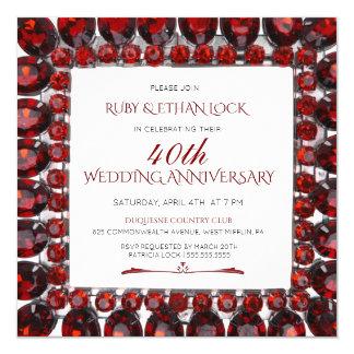 Tarjeta Aniversario de boda de rubíes retro del marco/del