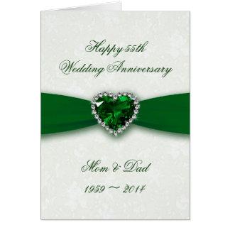 Tarjeta Aniversario de boda del damasco 55.o