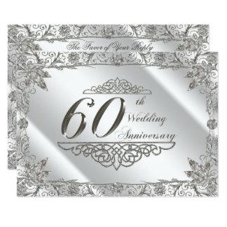 Tarjeta Aniversario de boda del diamante 60.o del Flourish