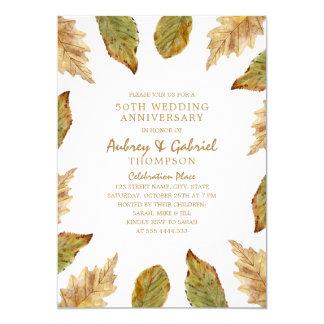 Tarjeta Aniversario de boda elegante de las hojas 50.as de
