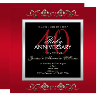Tarjeta Aniversario de boda elegante de las joyas 40.as