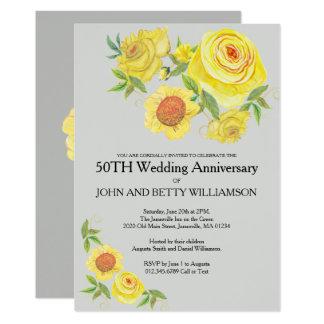 Tarjeta Aniversario de boda floral amarillo de la acuarela