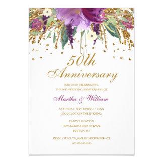 Tarjeta Aniversario de boda floral de la amatista 50.a del