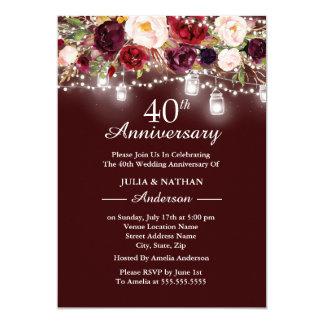 Tarjeta Aniversario de boda floral de las luces 40.as de