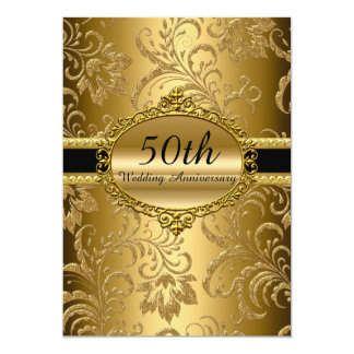 Tarjeta Aniversario de boda floral del oro el 50.o invita