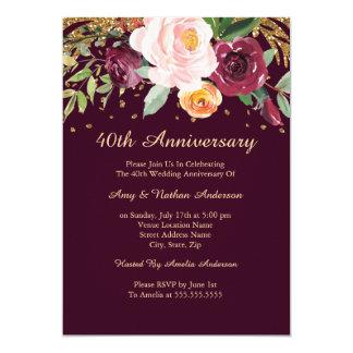 Tarjeta Aniversario de boda floral del purpurina 40.o de