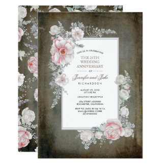Tarjeta Aniversario de boda floral del vintage elegante
