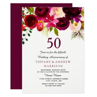 Tarjeta Aniversario de boda floral rojo de Borgoña Boho