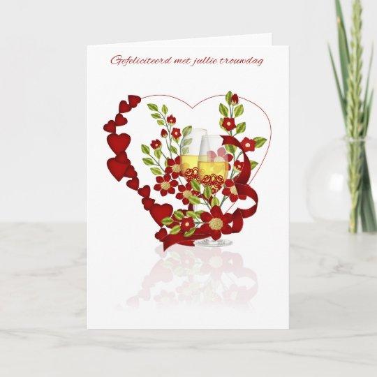 Como Decir Feliz Navidad En Holandes.Tarjeta Aniversario De Boda Holandes Con Las Flores De
