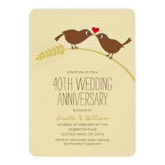 Tarjeta Aniversario de boda lindo de los pájaros 40.os del