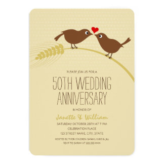 Tarjeta Aniversario de boda lindo de los pájaros 50.os del