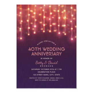 Tarjeta Aniversario de boda moderno de las luces 40.as del