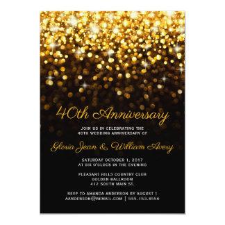 Tarjeta Aniversario de boda negro del encanto 40.o de