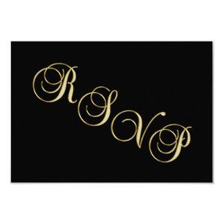 Tarjeta Aniversario de boda negro elegante de RSVP del oro