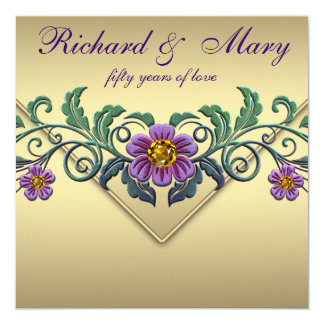 Tarjeta Aniversario de boda púrpura del oro 50.o de la