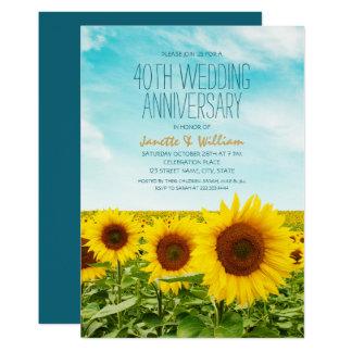 Tarjeta Aniversario de boda rústico del girasol 40.o