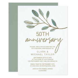 Tarjeta Aniversario de boda veteado oro del eucalipto 50.o