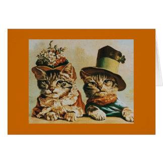 Tarjeta Aniversario de los pares del gato del vintage