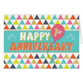 Tarjeta Aniversario del empleado 1 año - modelo colorido