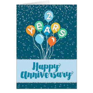 Tarjeta Aniversario del empleado 2 años - confeti de los