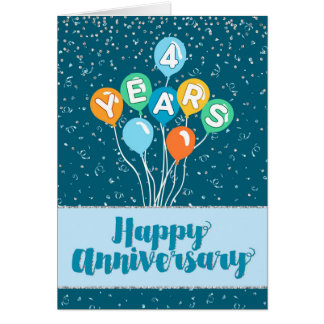 Tarjeta Aniversario del empleado 4 años - confeti de los
