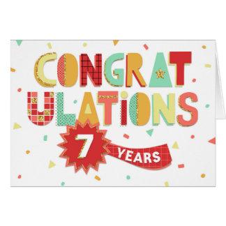 Tarjeta Aniversario del empleado 7 años de enhorabuena de
