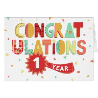 Tarjeta Aniversario del empleado enhorabuena de 1