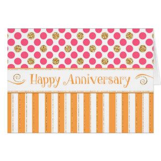 Tarjeta Aniversario del empleado - rosa del naranja