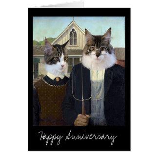 Tarjeta Aniversario divertido gótico americano del gato