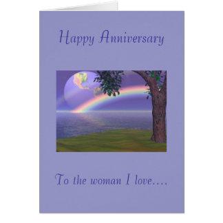 Tarjeta Aniversario feliz, al amor de la mujer I