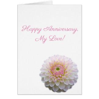 Tarjeta ¡Aniversario feliz! (Flor blanca)
