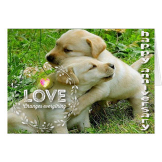 Tarjeta Aniversario feliz (perritos) - cristiano