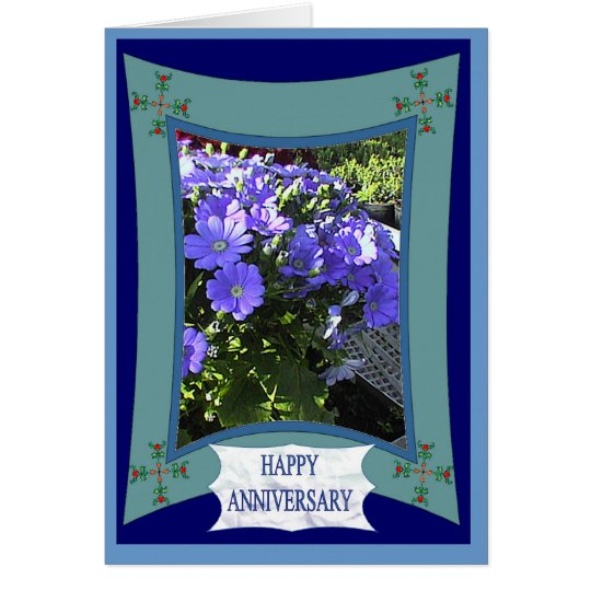 Tarjeta Aniversario feliz, simplicidad en púrpura