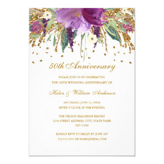 Tarjeta Aniversario floral Amethyst del oro púrpura 50.o