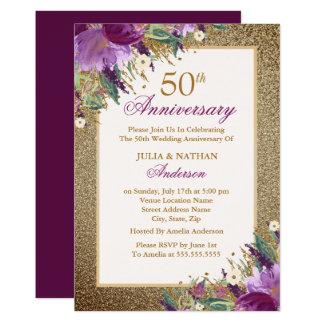 Tarjeta Aniversario floral Amethyst del purpurina púrpura
