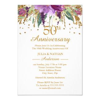 Tarjeta Aniversario floral Amethyst púrpura del oro 50.o