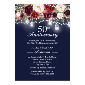 Tarjeta Aniversario floral de las luces 50.as de Borgoña