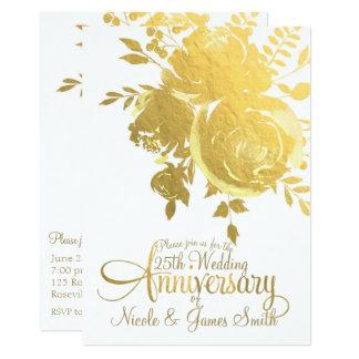 Tarjeta Aniversario floral elegante de la falsa hoja de