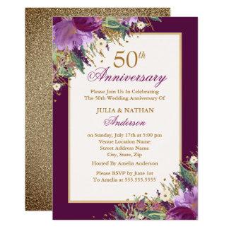 Tarjeta Aniversario floral púrpura Amethyst del purpurina
