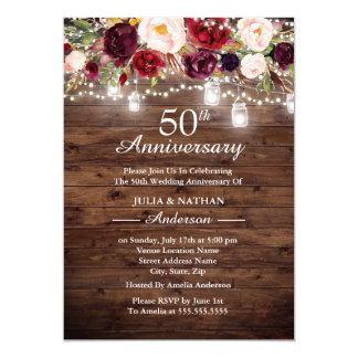 Tarjeta Aniversario floral rústico de las luces 50.as de
