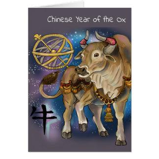 Tarjeta Año chino del zodiaco del buey