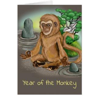 Tarjeta Año chino del zodiaco del mono