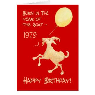 Tarjeta Año chino en 1979 del cumpleaños llevado cabra