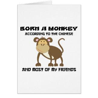 """Tarjeta Año divertido del mono """"llevado un mono """""""
